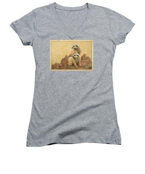 Lookouts Women's V-Neck T-Shirt (Junior Cut) by James W Johnson