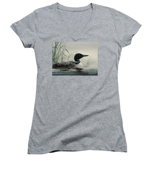 Loon Near The Shore Women's V-Neck T-Shirt (Junior Cut) by James Williamson