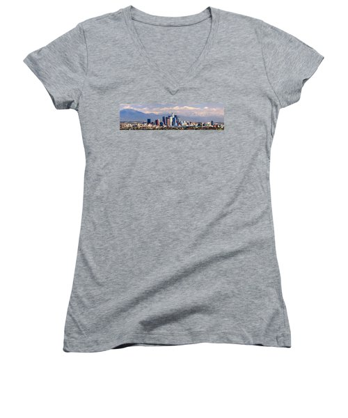 Los Angeles Skyline With Mountains In Background Women's V-Neck T-Shirt (Junior Cut) by Jon Holiday