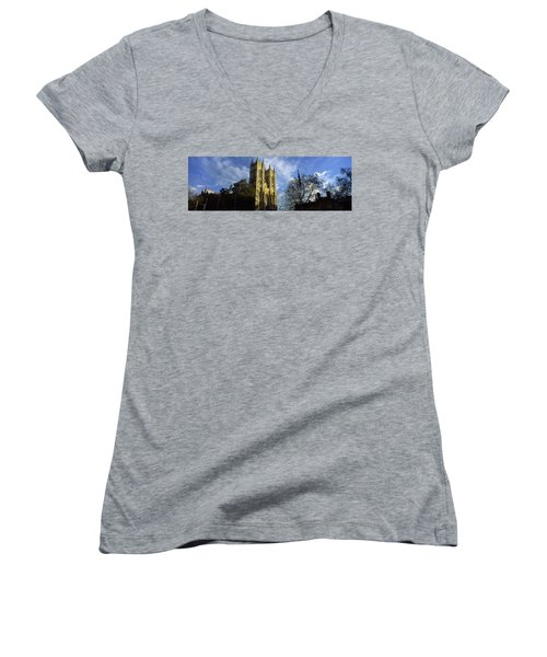 Low Angle View Of An Abbey, Westminster Women's V-Neck T-Shirt (Junior Cut) by Panoramic Images