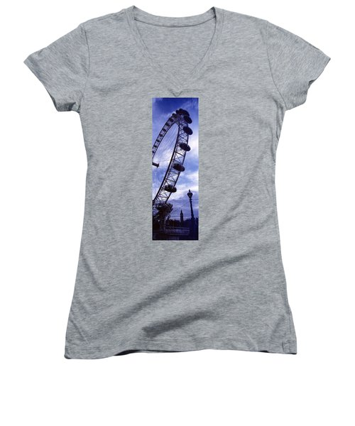 Low Angle View Of The London Eye, Big Women's V-Neck T-Shirt (Junior Cut) by Panoramic Images