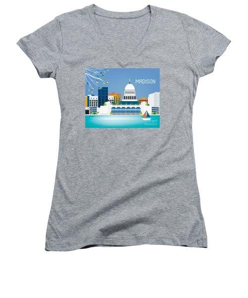 Madison Women's V-Neck T-Shirt (Junior Cut) by Karen Young