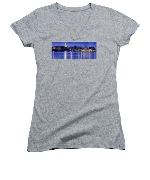 Madison Skyline Reflection Women's V-Neck T-Shirt (Junior Cut) by Sebastian Musial