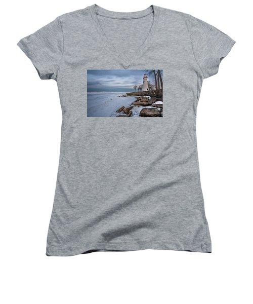 Marblehead Lighthouse  Women's V-Neck T-Shirt (Junior Cut) by James Dean