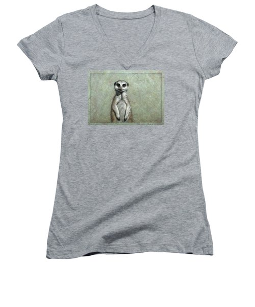Meerkat Women's V-Neck T-Shirt (Junior Cut) by James W Johnson
