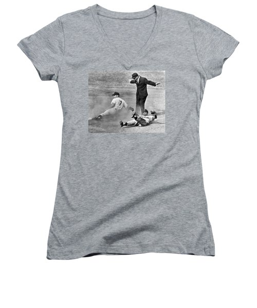 Mickey Mantle Steals Second Women's V-Neck T-Shirt (Junior Cut) by Underwood Archives