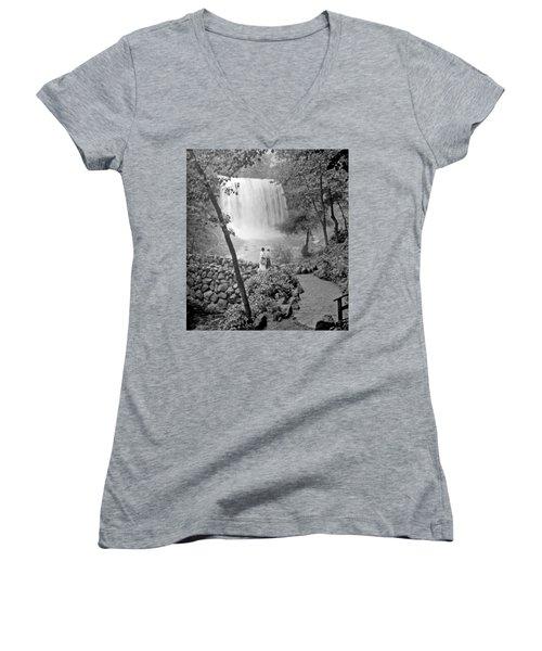 Women's V-Neck T-Shirt (Junior Cut) featuring the photograph Minnehaha Falls Minneapolis Minnesota 1915 Vintage Photograph by A Gurmankin