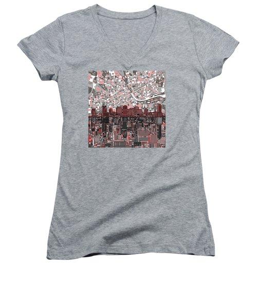 Nashville Skyline Abstract 3 Women's V-Neck T-Shirt (Junior Cut) by Bekim Art