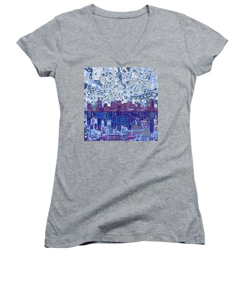 Nashville Skyline Abstract 8 Women's V-Neck T-Shirt (Junior Cut) by Bekim Art