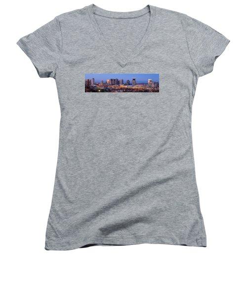 Nashville Skyline At Dusk Panorama Color Women's V-Neck T-Shirt (Junior Cut) by Jon Holiday