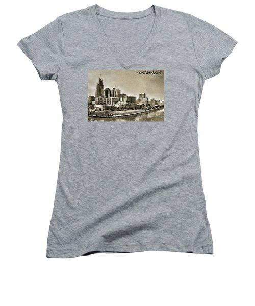 Nashville Tennessee Women's V-Neck T-Shirt (Junior Cut) by Dan Sproul