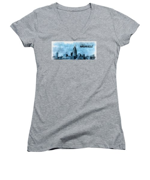 Nashville Tennessee In Blue Women's V-Neck T-Shirt (Junior Cut) by Dan Sproul
