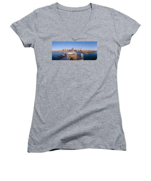 Navy Pier, Chicago, Morning, Illinois Women's V-Neck T-Shirt (Junior Cut) by Panoramic Images