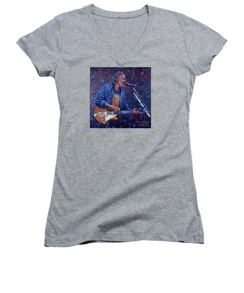 Neil Young Women's V-Neck T-Shirt (Junior Cut) by John Cruse Knotts