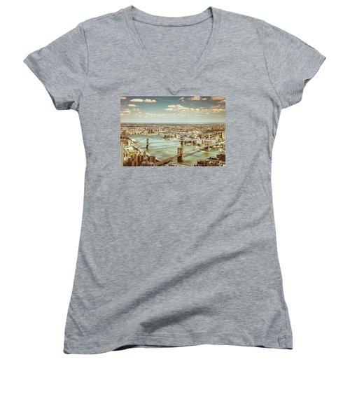 New York City - Brooklyn Bridge And Manhattan Bridge From Above Women's V-Neck T-Shirt (Junior Cut) by Vivienne Gucwa