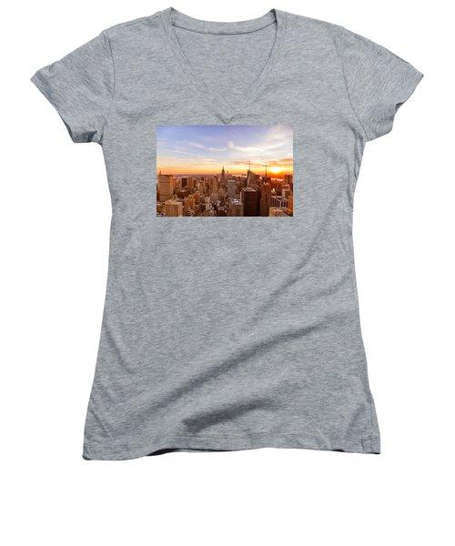 New York City - Sunset Skyline Women's V-Neck T-Shirt (Junior Cut) by Vivienne Gucwa