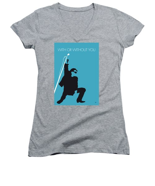 No035 My U2 Minimal Music Poster Women's V-Neck T-Shirt (Junior Cut) by Chungkong Art