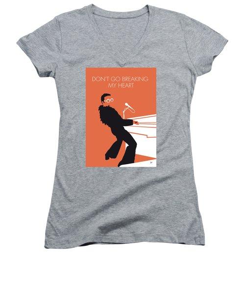 No053 My Elton John Minimal Music Poster Women's V-Neck T-Shirt (Junior Cut) by Chungkong Art