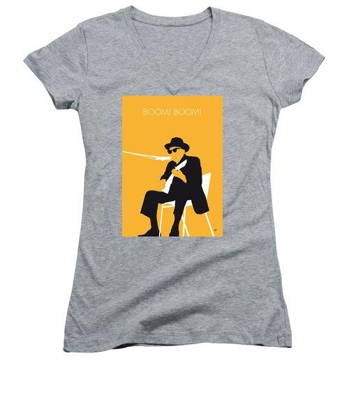 No054 My Johnny Lee Hooker Minimal Music Poster Women's V-Neck T-Shirt (Junior Cut) by Chungkong Art