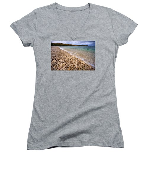 Northern Shores Women's V-Neck T-Shirt (Junior Cut) by Adam Romanowicz