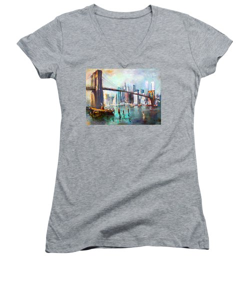Ny City Brooklyn Bridge II Women's V-Neck T-Shirt (Junior Cut) by Ylli Haruni