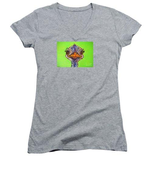 O For Ostrich Women's V-Neck T-Shirt (Junior Cut) by Ella Kaye Dickey