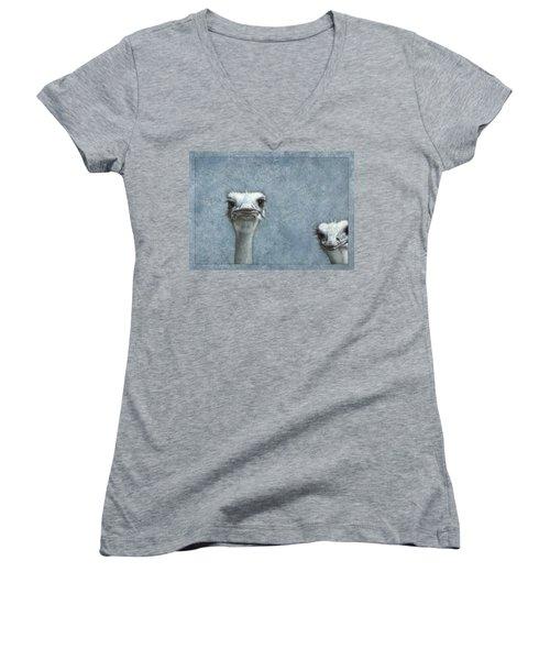 Ostriches Women's V-Neck T-Shirt (Junior Cut) by James W Johnson