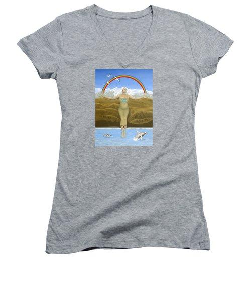 Papatuanuku / Capricorn Women's V-Neck T-Shirt (Junior Cut) by Karen MacKenzie