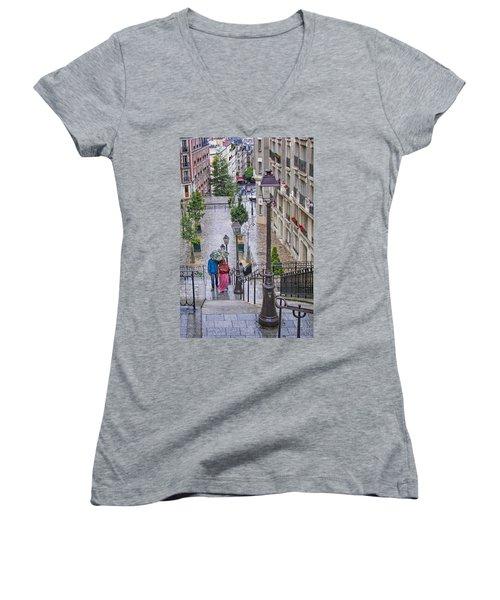 Paris Sous La Pluie Women's V-Neck T-Shirt (Junior Cut) by Nikolyn McDonald