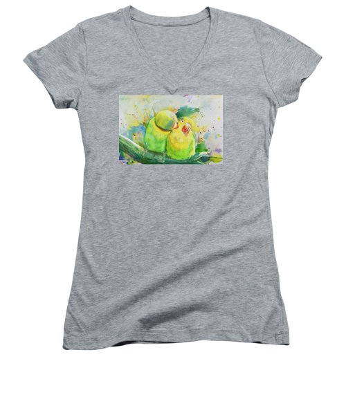 Parrots Women's V-Neck T-Shirt (Junior Cut) by Catf