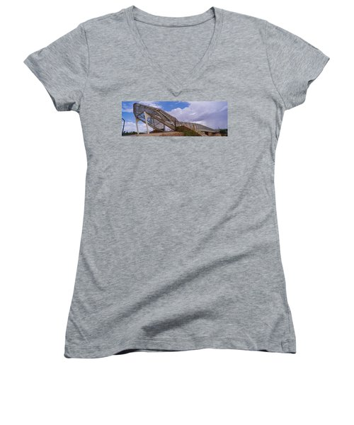 Pedestrian Bridge Over A River, Snake Women's V-Neck T-Shirt (Junior Cut) by Panoramic Images