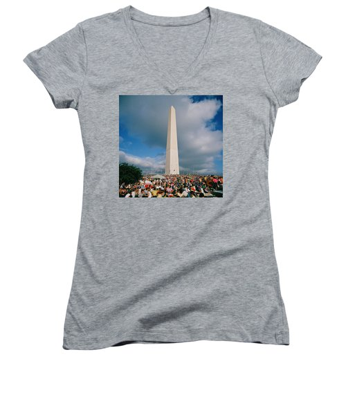 People At Washington Monument, The Women's V-Neck T-Shirt (Junior Cut) by Panoramic Images