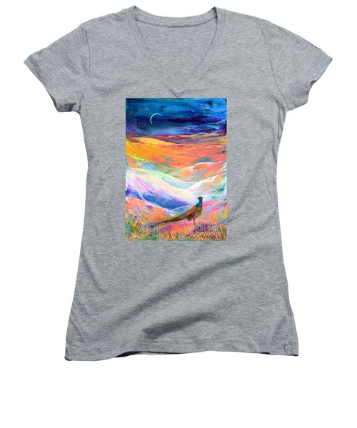 Pheasant Moon Women's V-Neck T-Shirt (Junior Cut) by Jane Small