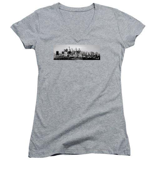 Philadelphia Skyline Black And White Bw Pano Women's V-Neck T-Shirt (Junior Cut) by Jon Holiday