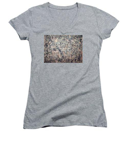 Pollock's Number 1 -- 1950 -- Lavender Mist Women's V-Neck T-Shirt (Junior Cut) by Cora Wandel