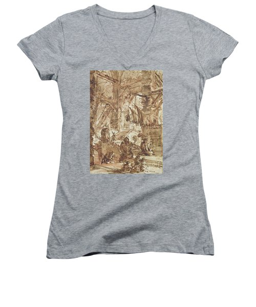 Preparatory Drawing For Plate Number Viii Of The Carceri Al'invenzione Series Women's V-Neck T-Shirt (Junior Cut) by Giovanni Battista Piranesi