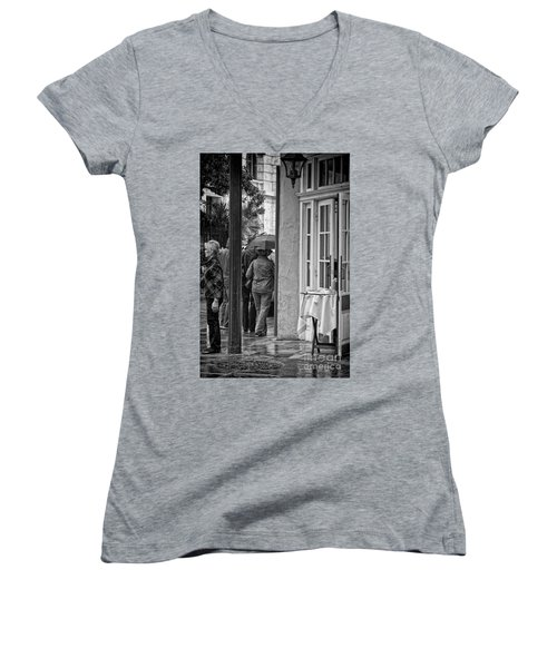 Rainy Day Lunch New Orleans Women's V-Neck T-Shirt (Junior Cut) by Kathleen K Parker