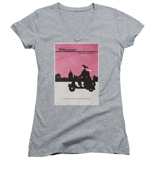 Roman Holiday Women's V-Neck T-Shirt (Junior Cut) by Ayse Deniz
