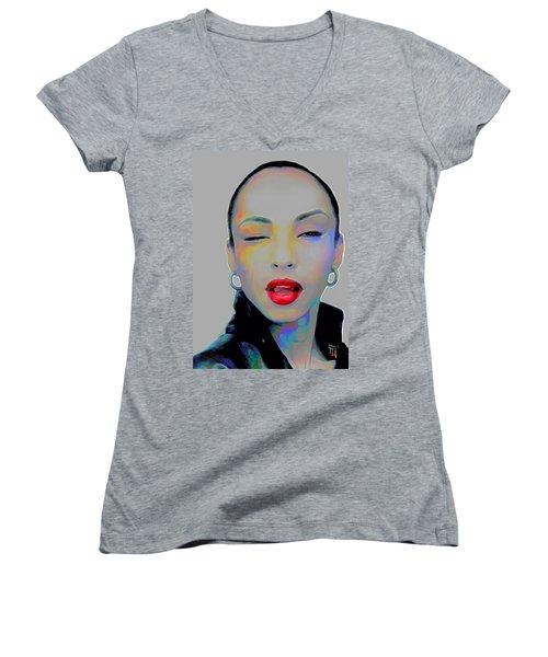 Sade 3 Women's V-Neck T-Shirt (Junior Cut) by Fli Art