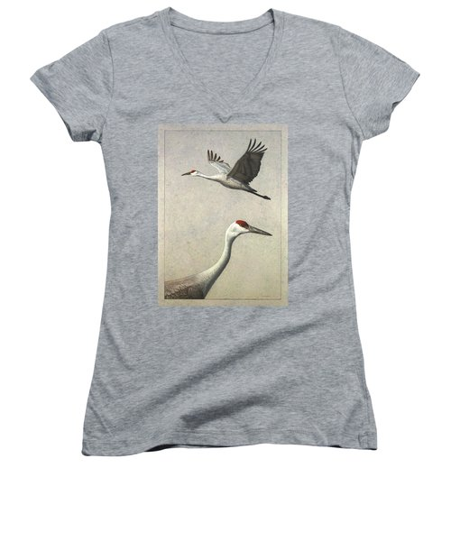 Sandhill Cranes Women's V-Neck T-Shirt (Junior Cut) by James W Johnson