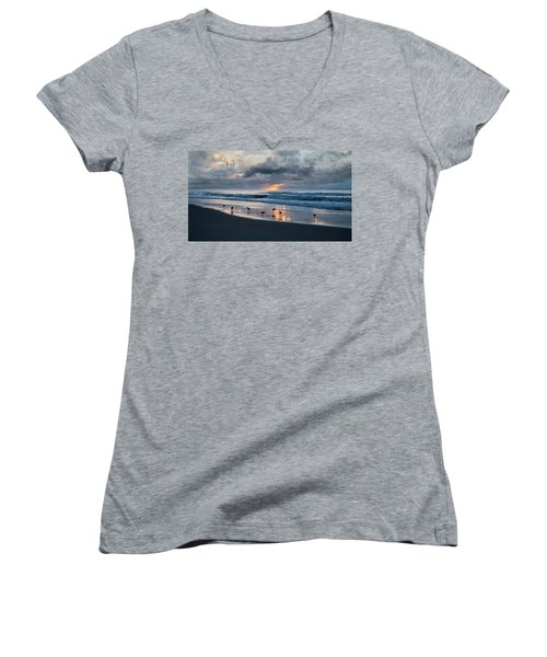 Sandpipers In Paradise Women's V-Neck T-Shirt (Junior Cut) by Betsy Knapp