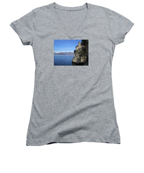 Women's V-Neck T-Shirt (Junior Cut) featuring the photograph Santa Caterina - Lago Maggiore by Travel Pics