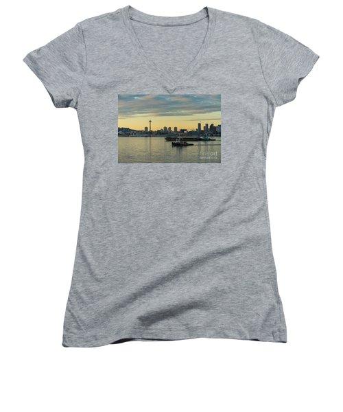 Seattles Working Harbor Women's V-Neck T-Shirt (Junior Cut) by Mike Reid