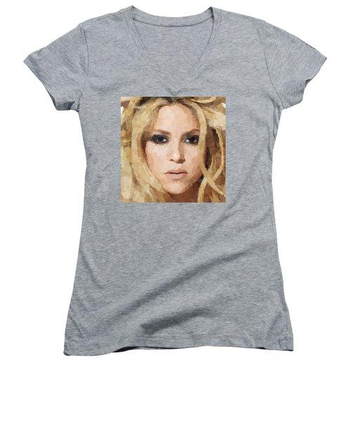 Shakira Portrait Women's V-Neck T-Shirt (Junior Cut) by Samuel Majcen