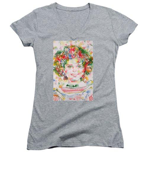 Shirley Temple - Watercolor Portrait.1 Women's V-Neck T-Shirt (Junior Cut) by Fabrizio Cassetta