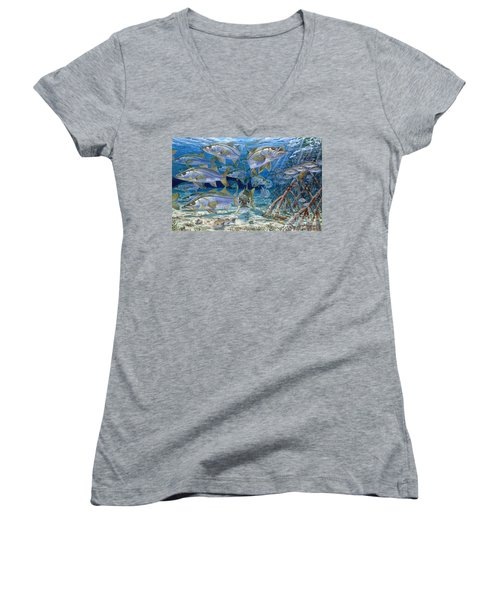Snook Cruise In006 Women's V-Neck T-Shirt (Junior Cut) by Carey Chen