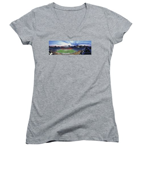 Soldier Field Football, Chicago Women's V-Neck T-Shirt (Junior Cut) by Panoramic Images