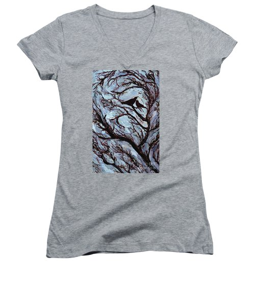 Stormy Day Greenwich Park Women's V-Neck T-Shirt (Junior Cut) by Ellen Golla