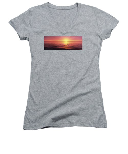 Sunset Over The Sea, Venice Beach Women's V-Neck T-Shirt (Junior Cut) by Panoramic Images