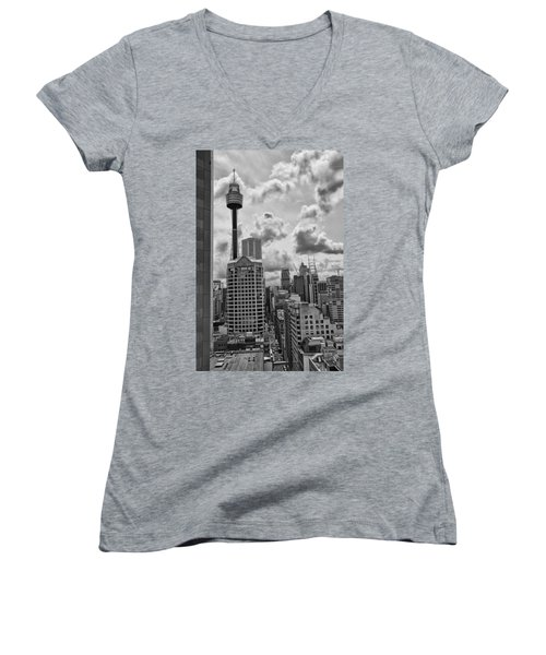Sydney Skyline Women's V-Neck T-Shirt (Junior Cut) by Douglas Barnard